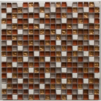Mosaik 1,5x1,5 rot/gold mix